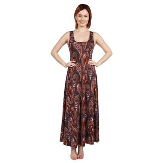 24/7 Comfort Apparel Annie Rust and Blue Print Long Dress