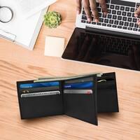 AFONiE - Men's ID Smooth Leather Bifold Wallet