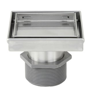 Shower Square Drain 4 inch - 2 IN 1 Reversible Tile Insert & Flat Grate Brushed Stainless Steel Finish