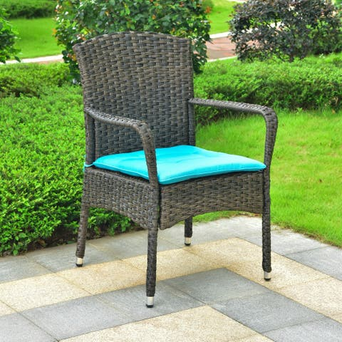 International Caravan Majorca Resin Wicker Patio Dining Chair with Cushion