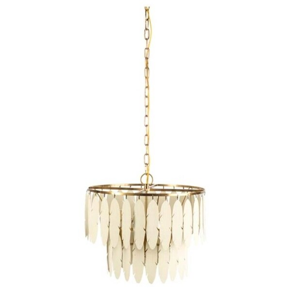 Mercana Laird Brass Metal 4-light Chandelier with Antique White Tin Feathers