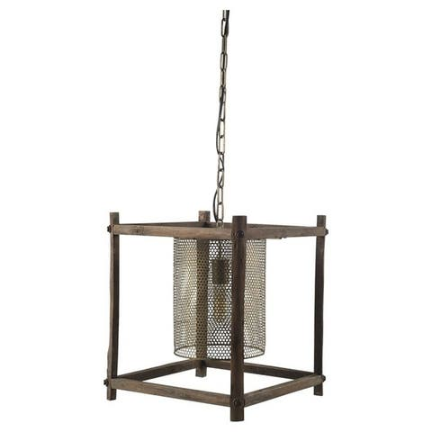 Mercana Keppler II Brass Meshed Metal/Wood Cylindrical Pendant Light - 16.0L x 16.0W x 18.3H