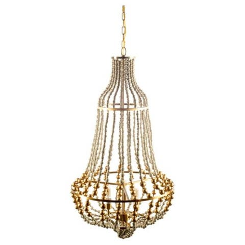 """Mercana Lafontaine (22""""x 39.5"""") Gold Metal Wooden Bead Three Bulb Chandelier - 22.0L x 22.0W x 39.5H"""