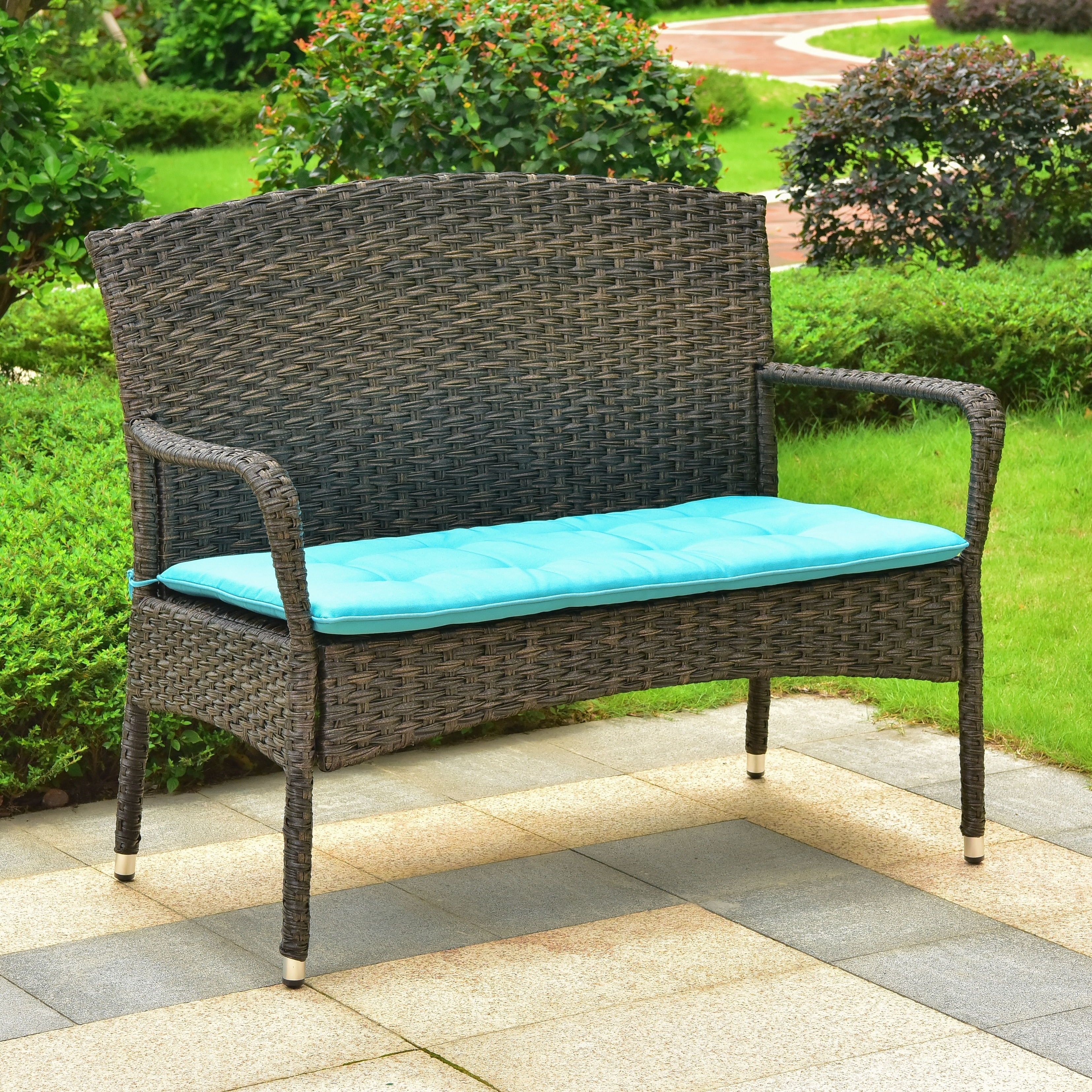 Wondrous International Caravan Majorca Resin Wicker Patio Sofa With Cushion Lamtechconsult Wood Chair Design Ideas Lamtechconsultcom