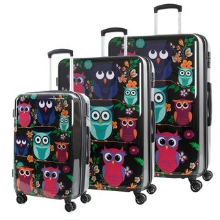 AGT Owls 3-Piece TSA Lock Expandable Spinner Luggage Set