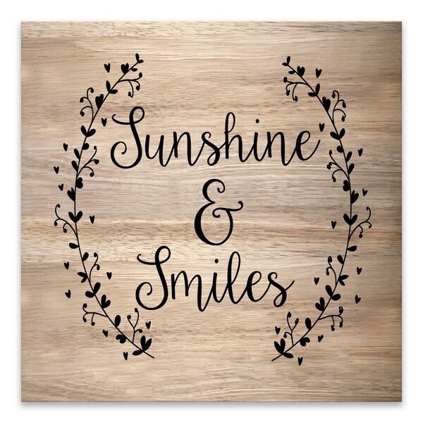 """Sunshine & Smiles"" Wood/MDF Box - 16W x 16H x 1.25D - Multi-color"
