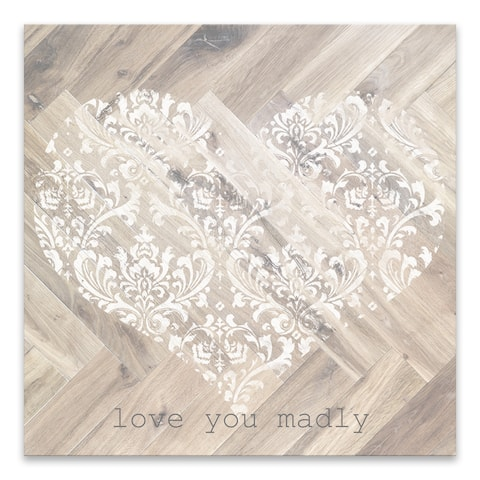 """Love You Madly"" Wood/MDF Box - 18W x 18H x 1.25D - Multi-color"