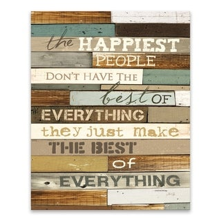 """Happiest People"" Wood/MDF Box - 16W x 20H x 1.25D - Multi-color"
