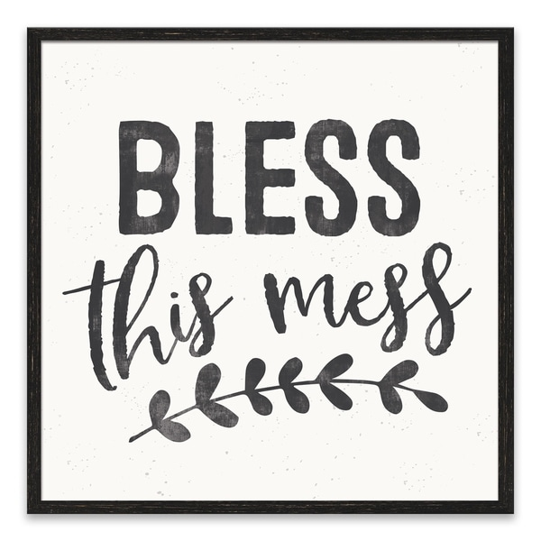 """""""Bless This Mess"""" Recessed Box - 18W x 18H x 1.25D - Multi-color"""