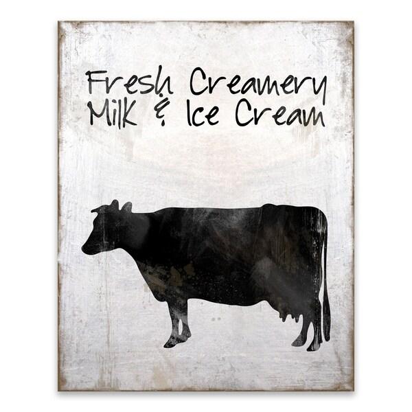 """Fresh Creamery Milk & Ice Cream"" Wood/MDF Box - 16W x 20H x 1.25D - Multi-color"