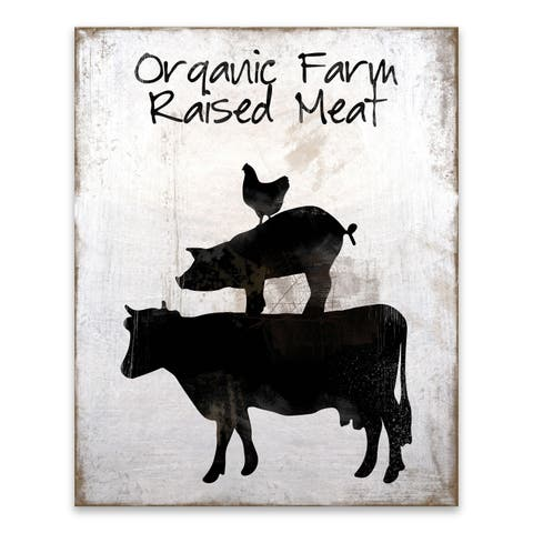 """Organic Farm Raised Meat"" Wood/MDF Box - 16W x 20H x 1.25D - Multi-color"