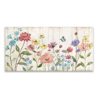 """Wildflower Flutter On Wood"" Wood/MDF Box - 40W x 20H x 1.25D - Multi-color"
