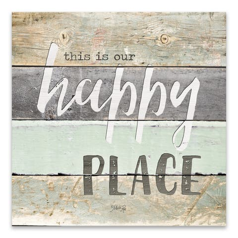 """Happy Place"" Wood/MDF Box - 16W x 16H x 1.25D - Multi-color"