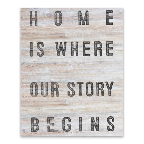 """Home Is Where Our Story Begins"" Wood/MDF Box - 16W x 20H x 1.25D - Multi-color"