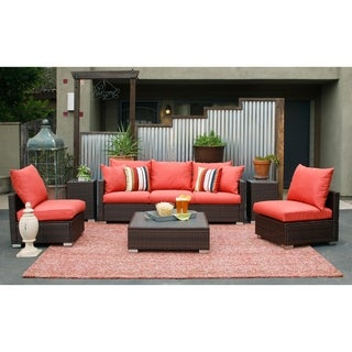 Handy Living Aldrich Indoor/Outdoor 3 pc Brown Seating Group with Coral Cushions