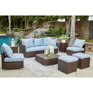 Handy Living Aldrich Indoor/Outdoor Brown 8 pc Seating Group with Blue Geometric Cushions