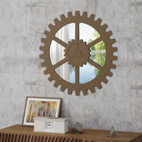 Delmore Industrial Gear Wall Mirror by Christopher Knight Home - N/A