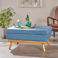 Dulcia Mid Century Fabric Ottoman by Christopher Knight Home