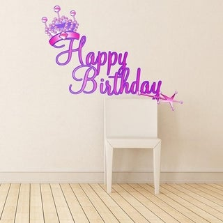 """Birthday Princess Crown Full Color Wall Decal Sticker K-832 FRST Size 52""""x65"""""""