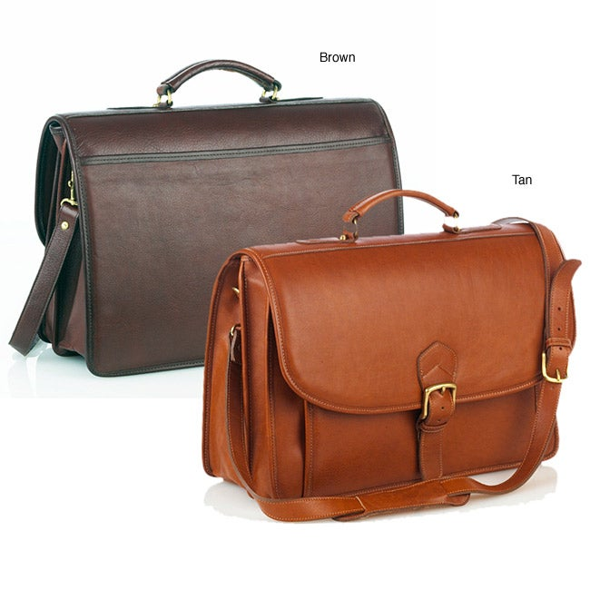 a7798eee09 Shop Aston Leather Double-compartment Oversized Briefcase - Free Shipping  Today - Overstock - 2099918