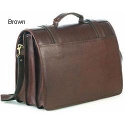 Aston Leather Triple-compartment Laptop Briefcase