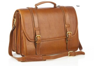Aston Leather Triple-compartment Laptop Briefcase (Option: Tan)