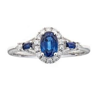 18K WG Blue Sapphire And Diamond Ring by Anika and August - White