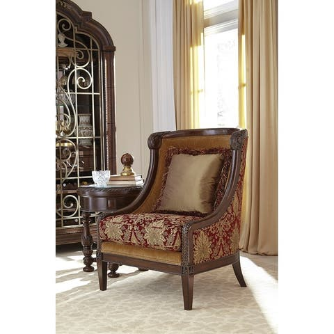 A.R.T. Furniture Giovanna Caramel Carved Wood Accent Chair