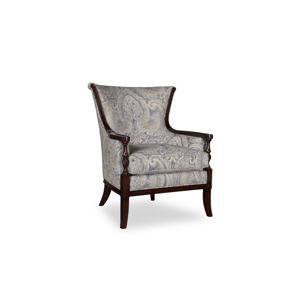 A R T Furniture Bristol Linen Carved Wood Accent Chair