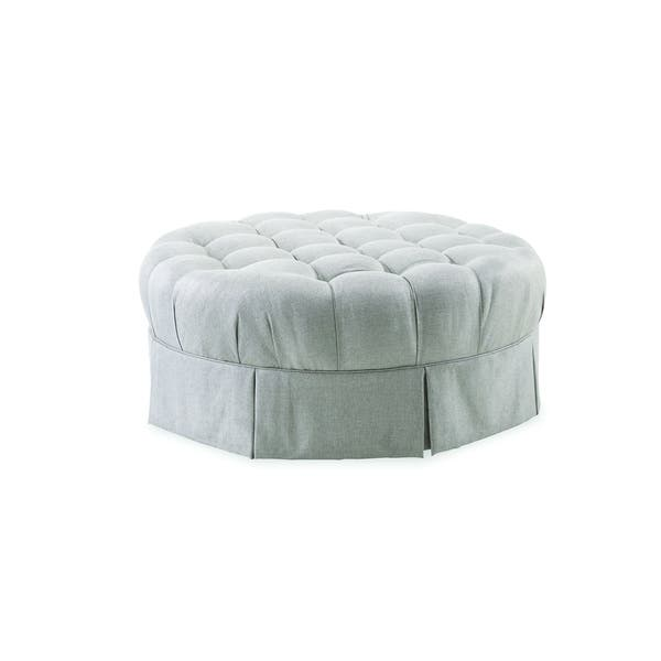 Peachy A R T Furniture Ava Grey Round Tufted Top Ottoman With Kick Pleat Skirt Gmtry Best Dining Table And Chair Ideas Images Gmtryco