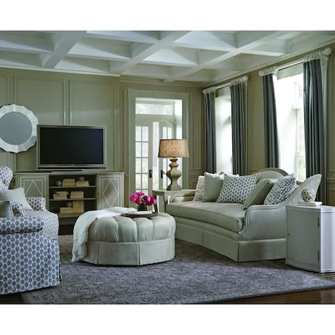A.R.T. Furniture Ava Grey Round Tufted Top Ottoman with Kick Pleat Skirt