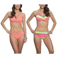 Pixie Pier Criss Cross Top Bikini Set - 2 Sets - Coral and Rainbow Stripe