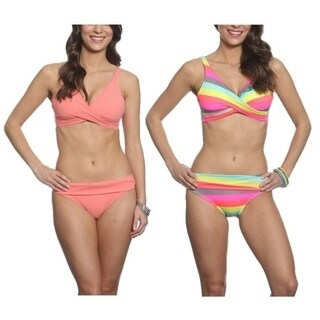 Pixie Pier Criss Cross Top Bikini Set - 2 Sets - Coral and Rainbow Stripe (2 options available)