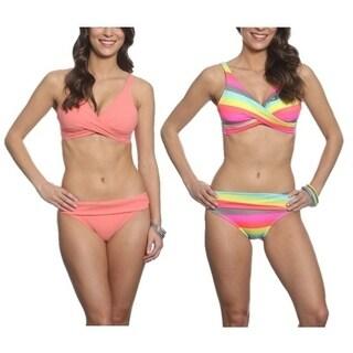 Pixie Pier Criss Cross Top Bikini Set - 2 Sets - Coral and Rainbow Stripe
