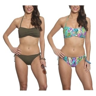 Pixie Pier Bandeau with Side Tie Bottom Bikini Set - 2 Sets - Brown and Multi Splatter
