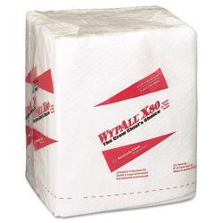WYPALL X80 Quarterfold White Hydroknit Wipers (Case of 50)