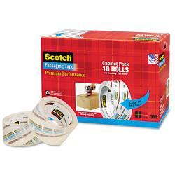 Scotch 3850 Premium Packaging Tape Cabinet Pack (Case of 18)