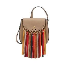 Women's Mellow World Delilah Multicolored Fringe Saddle Bag Mocha