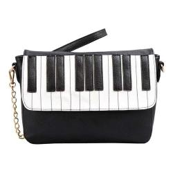 Mellow World Keyboard Piano Crossbody Clutch Black