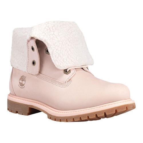 Women  x27 s Timberland Authentics Teddy Fleece Waterproof Fold-Down Boot  Light Pink 5b44cd1e12