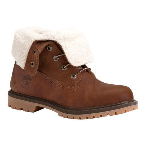 premium selection c456a f5358 Shop Women s Timberland Authentics Teddy Fleece Waterproof Fold-Down Boot  Tobacco Forty Leather - Free Shipping Today - Overstock - 18242439