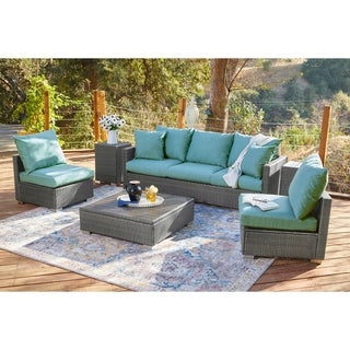 Handy Living Aldrich Smoke Grey Indoor/Outdoor 6 pc Seating Group with Teal Blue Cushions