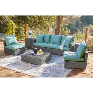 Handy Living Aldrich Smoke Grey Indoor/Outdoor 3 pc Seating Group with Teal Blue Cushions