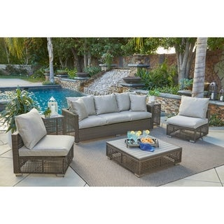 Handy Living Aldrich Open Weave Grey Indoor/Outdoor 6 pc Seating Group with Taupe Cushions