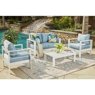Handy Living Crete 4 Pc White Indoor/Outdoor Conversation Set with Blue Cushions
