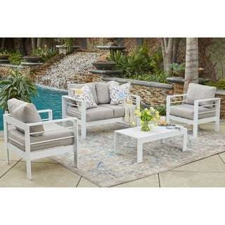 Handy Living Crete 4 Pc White Indoor/Outdoor Conversation Set with Grey Cushions