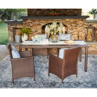 Handy Living Aldrich Indoor/Outdoor Brown 5 pc Rectangle Dining Set with Blue Geometric Cushions