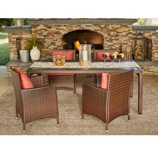 Handy Living Aldrich Indoor/Outdoor Brown 5 pc Rectangle Dining Set with Coral Cushions