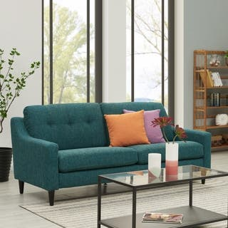 Handy Living Regina Scooped Arm Blue Tweed Sofast Sofa