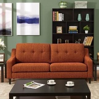 Superior Handy Living Regina Scooped Arm Orange Tweed SoFast Sofa